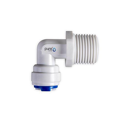 PureOne qf-100-02E Quick Mamelon – connecteur rapide 3/8 sur 1/2 (AG). Modèle : Coude | en forme de L. Tuyau d'accessoires pour inversion de Systèmes Osmose, installations d'eau ou réfrigérateur