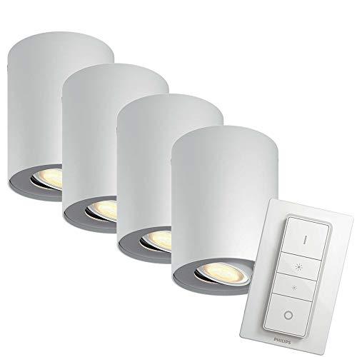 PHILIPS hue Ambiance LED Aufbaustrahler dimmbar | runde Deckenleuchte Spot weiss | inkl. GU10 LED 5,5W 350 Lumen | warmweiß kaltweiß 2200-6500K 4er Set mit Dimmschalter