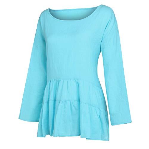 Damen Baumwolle Leinen Rüschen unregelmäßiger Saum Tops Solide 3/4 Ärmel Rundhals Shirt Bluse Large Size - 10 Jeans Dollar Süße Unter