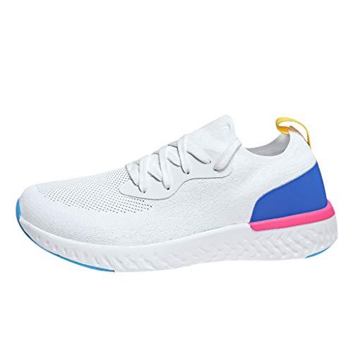 COZOCO Unisex Männer Damen Leicht atmungsaktive Wohnungen Sportschuhe Fashion Walk Traillaufschuhe Laufschuhe Turnschuhe(weiß,43)