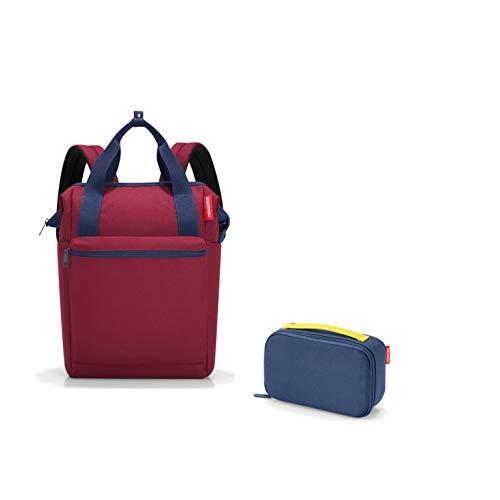 schönes reisenthel Outdoorset 2tlg. bestehend aus reisenthel Rucksack/Backpack/Allrounder R und Isotasche/thermocase im trendigen Design Black/schwarz (Dark Ruby)