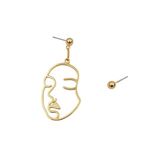 Fenical Ohr Ringe Asymmetrische Elegante Gesicht Form Lange Hängende Fallen Ohrringe für Frauen Mädchen (Golden)