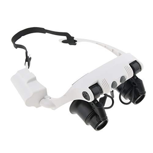 perfk Lupenbrille mit Licht 10X 15X 20X 25X Kopfband Lupen Standlupe mit LED Lichts und 8Pcs Linse für feine Arbeiten, Juweliere, Lesen, Reparatur