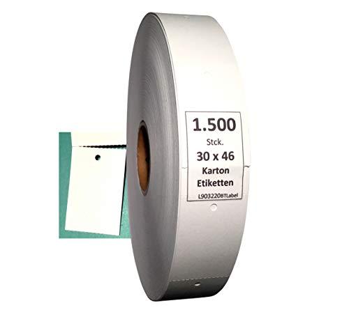 BT-Label 1500 Kartonetiketten 30 x 46 mm auf Rolle blanko Endlosetiketten mit Loch Preisetiketten für Etikettiergeräte Kleidung Etiketten Anhänger Hang Tags