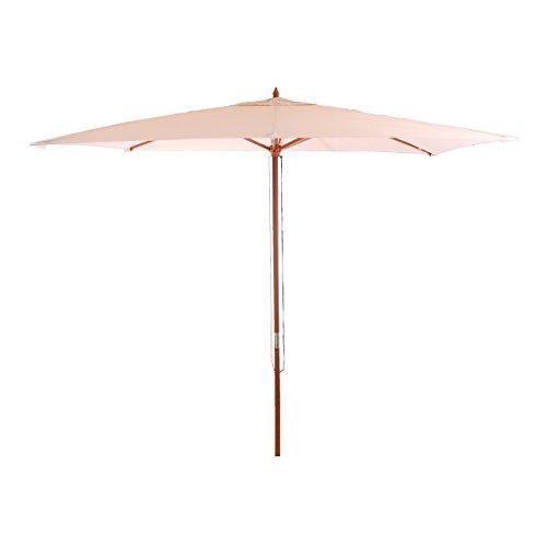 Mendler Sonnenschirm Florida, Gartenschirm Marktschirm, 2x3m Polyester/Holz 6kg ~ creme