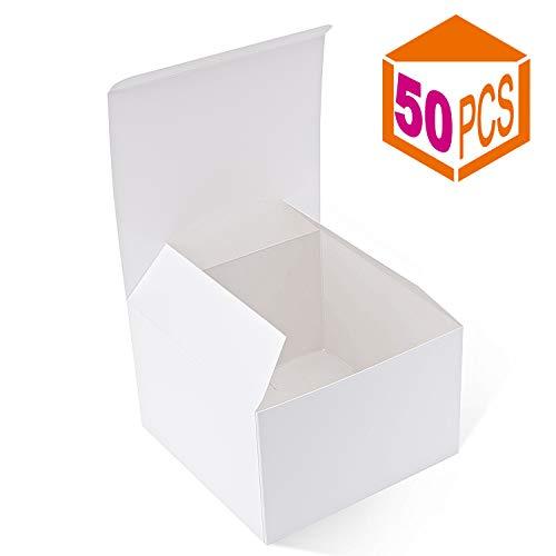 mescha recyceltem Geschenk-Boxen 15,2x 15,2x 10,2cm weiß glänzend Kartons 50Kraft Favor Boxen für Party, Hochzeit, Geschenk