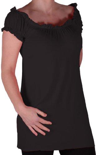 Eyecatch TM - Tunique tombant sur les épaules style bohémienne - Nikita - Femme - Plusieurs Tailles et Couleurs Noir