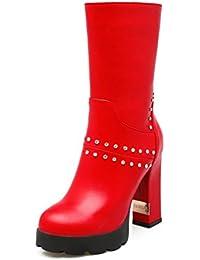 SHOWHOW Damen Strass Halbschaft Stiefelette Keilstiefel Blau 34 EU