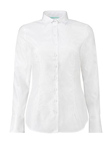 Hawes & Curtis Damen Ladies Twill Tailliert Executive Manschette Langarm Kragen Hemd Bluse 8 Weiss (Hemd Baumwoll-twill Damen)