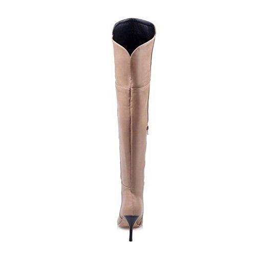 AgooLar Damen Weiches Material Reißverschluss Spitz Zehe Hoher Absatz Stiefel Cremefarben