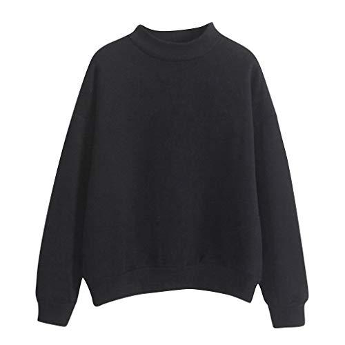 BHYDRY Frauen Oansatz Normallack Rollkragen Langarm Plus Samt Sweatshirt(X-Large,Schwarz) -