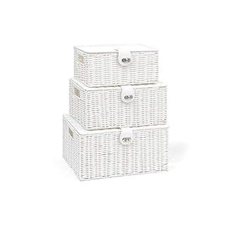 ARPAN Set of 3 Resin Woven Storage Basket Box with Lid & Lock, White, Large, Medium, Small