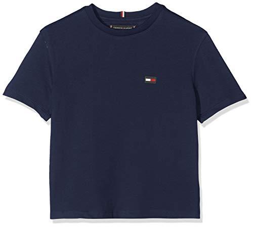 Tommy hilfiger essential boxy flag s/s t-shirt, blu (black iris 002), 98 (taglia produttore: 3) bambino