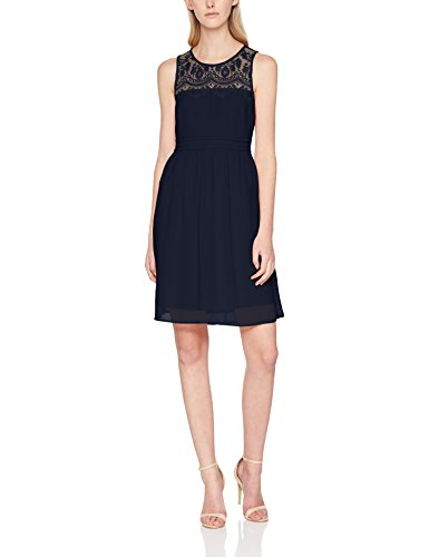 VERO MODA Damen Kleid VMVANESSA SL Short Dress NOOS, Blau Night Sky, 36 (Herstellergröße: S)