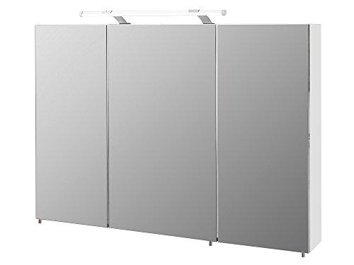 #Spiegelschrank, Badezimmerspiegel, Badezimmerschrank, Badspiegel, weiß, Hochglanz, LED-Beleuchtung, Steckdose, Hängeschrank, modern#