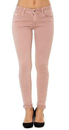 Damen skinny Jeanshosen mit revers stretch rosa hose größe 36 (Stretch-jeans Rosa)