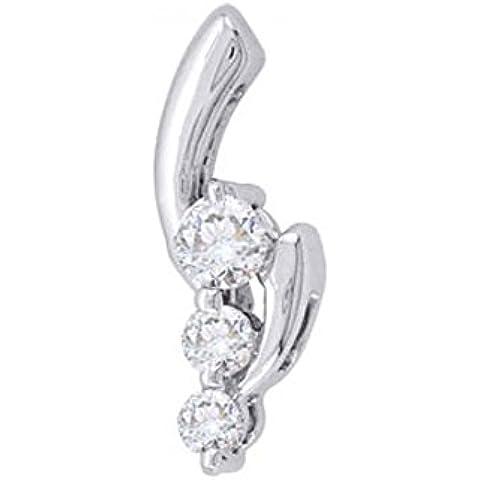 His & Her 14ct Oro Blanco Collar de Diamante, 0.25 Ct Diamante, IJ - PK, 3 piedras