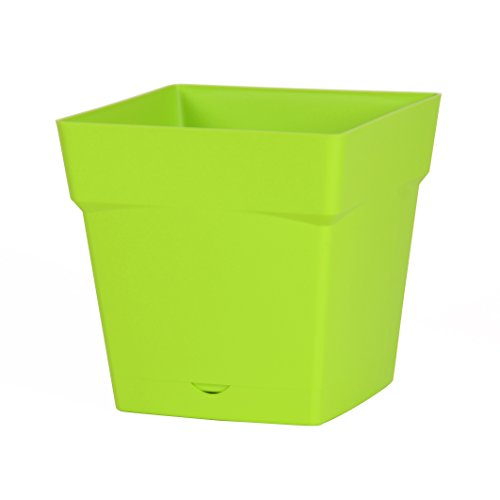 EDA Plastiques Pot Carré avec Soucoupe Clipsée Toscane Pistache 24,8 x 24,8 x 24,4 cm 13642 V.PI SX6