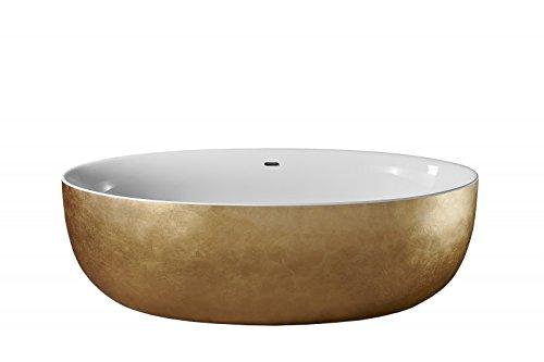 Freistehende Badewanne TERRA Acryl Gold - 186 x 88 cm - Blattgold-Oberfläche