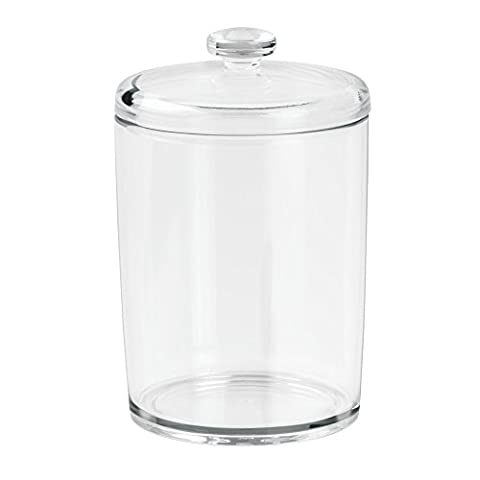 InterDesign Plastic Bathroom Vanity Canister with Lid for Cotton Balls/Swabs/Cosmetic