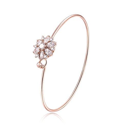 City Ouna® Rose oro placcato braccialetto fiore fascino di cristallo per donne ragazze con zirconi Natale regalo gioielli