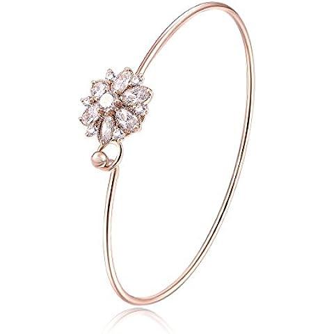 City Ouna® oro plateado flor encanto de cristal pulsera para mujeres niñas con Circonita joyería de regalo de Navidad