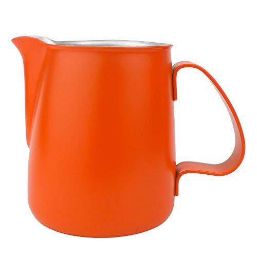 F Fityle Milchkännchen, Edelstahl Milchkanne perfekt für Espressomaschinen, Orange 750ml