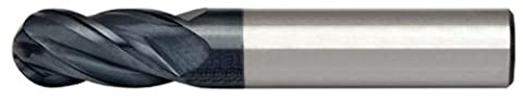 Alfa Tools HPSCB60675AL 3/8X3/8 4 Flute Single End Ball High Performance AlTiN Carbide Mill Made In USA,