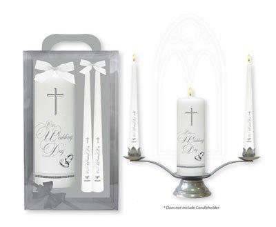 Catholic Gift Shop Ltd Hochzeit Kerzen, mit Silber Kreuzen und Bands & Lourdes Gebet Karte