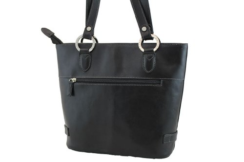 Borsa shopping, Katana, in pelle di vacchetta, colletto 82150 K nero