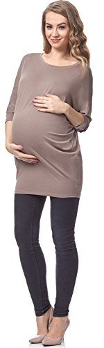 Be Mammy Damen Umstands Bluse BELM156 (Beige, S)