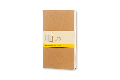 Moleskine cahier journal set 3 quaderni a quadretti, grande, marrone