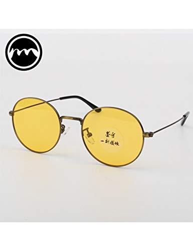 MOMOQU Sun Glasses Farbige Transparente Sonnenbrille Mit Rundem Gestell, Retro-Sonnenbrille, Hell Polarisierte Farbige Nachtsichtbrille, Männliche Flut, Gelb