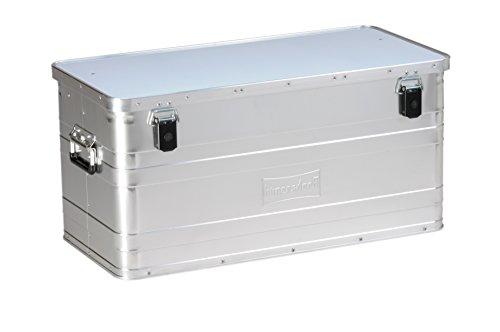hünersdorff Aluminium-Box 90 Liter,spritzwassergeschützt, mit Gummi-Dichtung, leicht, stabil, Klapphandgriffe, Vorbereitung für Schlösser, Farbe: silber - Groß Pet-kiste-tisch