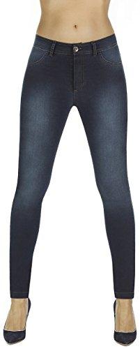 Bas Bleu Elegante Shape-Leggings * formend modellierend schlankmachend * Gr. S-XXL Jeans-Look Schlankmacher Leggins Damenhose (Timea dunkelblau Gr. S)