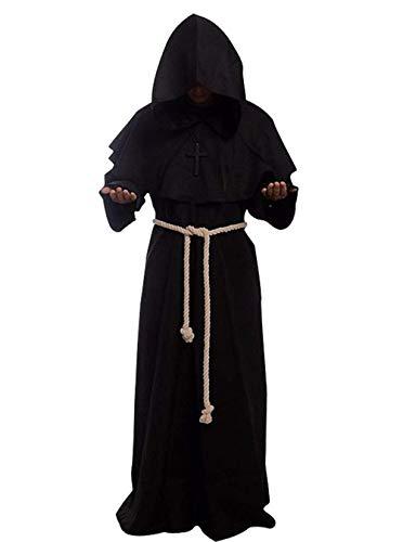 chuangminghangqi Mantello con Cappuccio Costume Halloween - Prete Cosplay Medievale Costumi Travestimento, Cordone e Croce Incluso