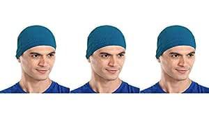 The Blazze Cotton Helmet Cap (Free Size, Turquise Blue+Turquise Blue+Turquise Blue)