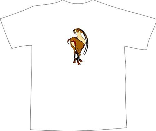 T-Shirt E735 Schönes T-Shirt mit farbigem Brustaufdruck - Logo / Grafik - Comic Design - schöne asiatische Ziege im Dschungel Weiß