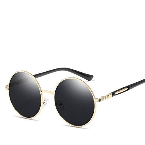 Easy Go Shopping Damen weiblich Vintage Retro Runde Metall Full Frame Sonnencreme UV400 Polarisiertes Licht PC Classic Style Sonnenbrillen und Flacher Spiegel (Color : Gold+All Gray)