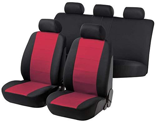 rmg-distribuzione Coprisedili per Panda Versione (2003-2011) compatibili con sedili con airbag, bracciolo Laterale, sedili Posteriori sdoppiabili Colore Nero Rosso R22S0186