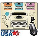 MSD Naturkautschuk Maus Pad/Matte mit genähte Kanten 9,8x 7,9Vintage Schreibmaschine Retro Industrial Fan Clip Art Set Image 22709560