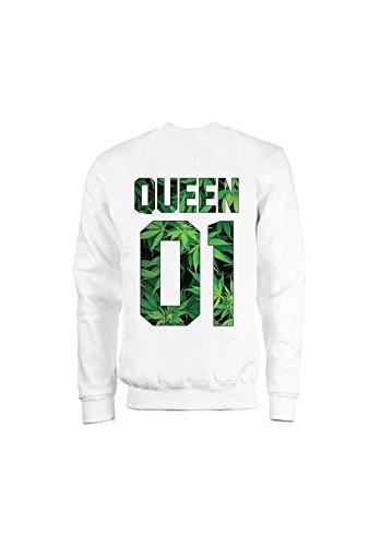 KING & QUEEN - SWEAT COL ROND QUEEN 01 - Weed Queen Blanc
