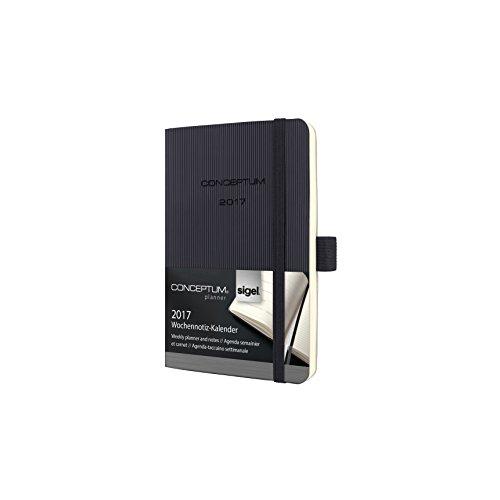Preisvergleich Produktbild Sigel C1725 Wochennotiz-Kalender 2017, ca. A6, Softcover schwarz, CONCEPTUM - auch in A5