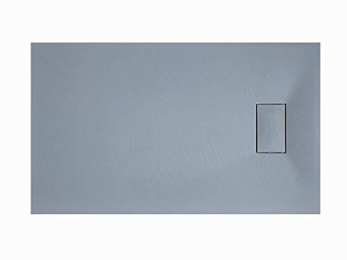 Laneri Receveur de douche en résine SMC avec bonde de douche, effet pierre ardoise, gris, 70 x 100 cm