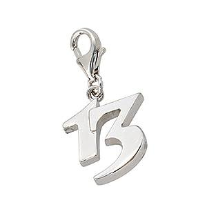 Zahl 13 Charm Einhänger 925 Sterling Silber