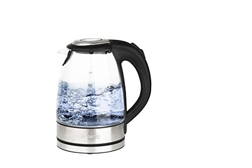 H.Koenig BO28 Edelstahl Glas Wasserkocher/1,7 L/LED Beleuchtung in blau/2200 W