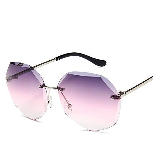LL-GLASS Polygon Trend Sonnenbrille Damen rahmenlose Sonnenbrille mit Farbverlauf Brille Lila und Rosa