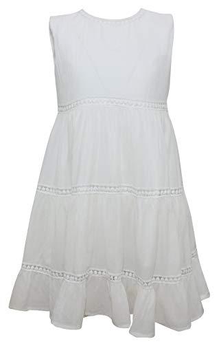 PUTZELI Mädchen Kleid Ärmellos Frühling Sommer (Weiß, 4-5)
