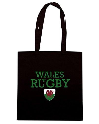 T-Shirtshock - Borsa Shopping TRUG0150 wales rugby designs logo Nero