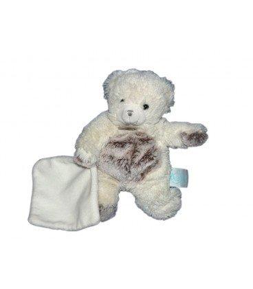Doudou Babynat Baby'nat ourson bear les Flocons blanc et marron mouchoir BN664